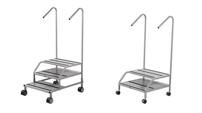 Medical step stool with handrail
